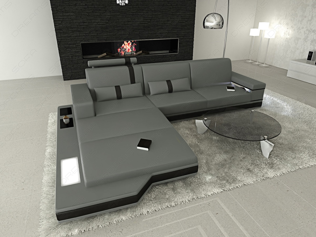 Awesome Design Lshaped Sofa Messana With Lights Grey Black Ebay With  Brostuhl Oldenburg With Nolte Kchen Hannover