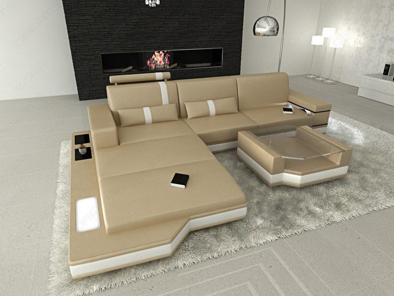 design l shaped sofa messana with lights sandbeige white. Black Bedroom Furniture Sets. Home Design Ideas