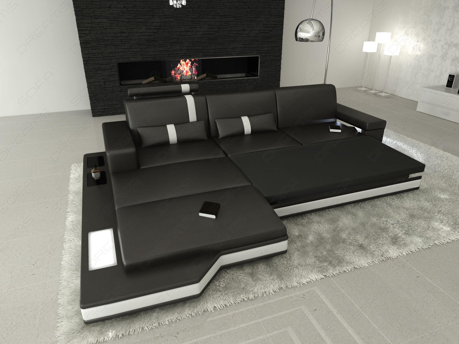 stoffsofa wohnlandschaft messana l form materialmix schwarzgrau mit beleuchtung. Black Bedroom Furniture Sets. Home Design Ideas