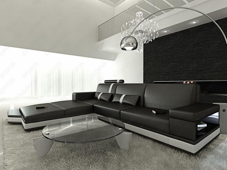 ... sofa MESSANA L-Shape black white Light Designercouch Corner sofa