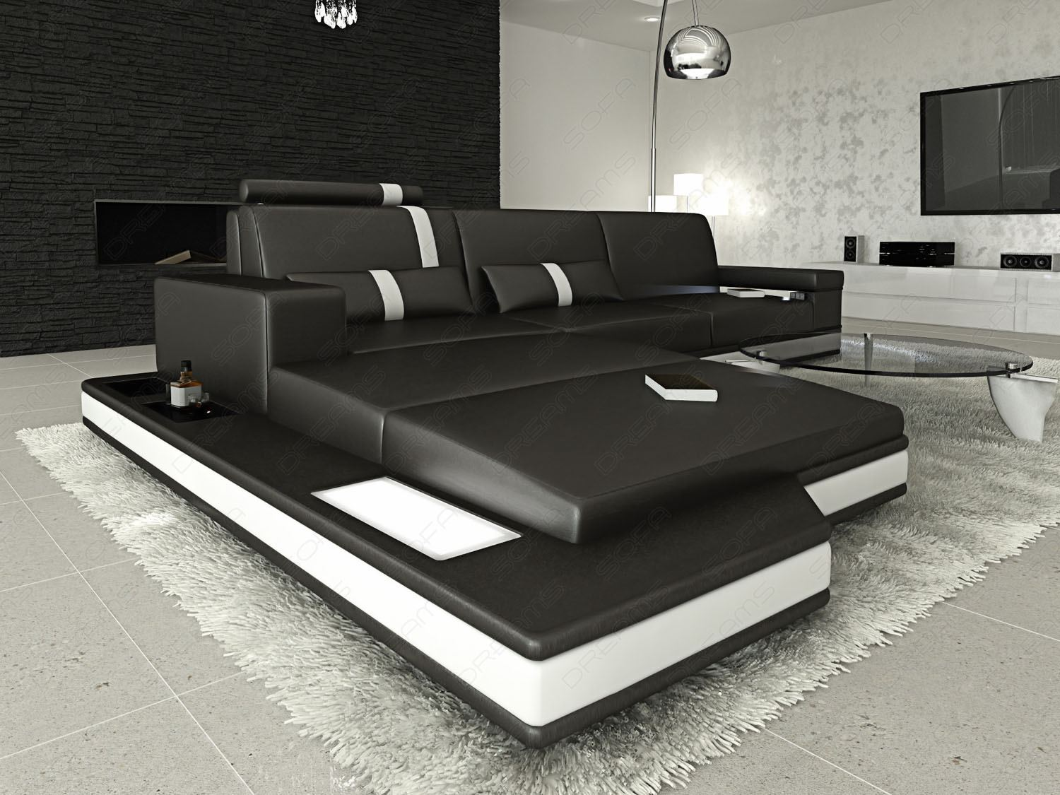 leather sofa messana l shape black white light. Black Bedroom Furniture Sets. Home Design Ideas