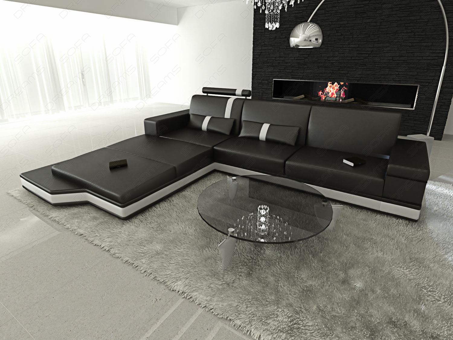 design l shaped sofa messana with lights black white ebay. Black Bedroom Furniture Sets. Home Design Ideas