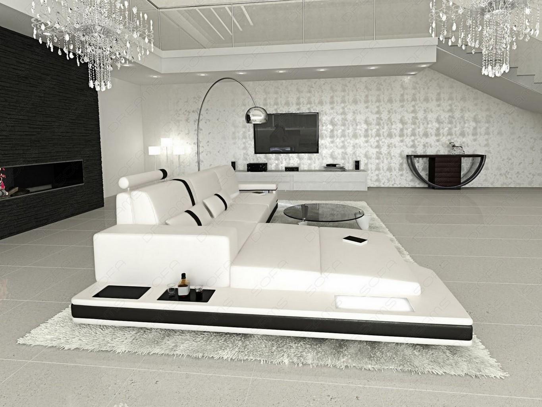 design l shaped sofa messana with lights white black ebay. Black Bedroom Furniture Sets. Home Design Ideas