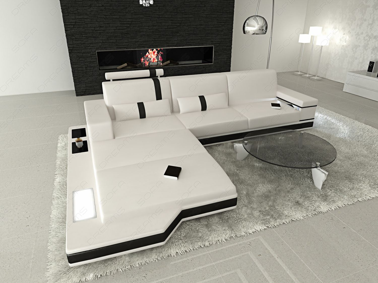 leather sofa messana l shaped designer coach upholstered. Black Bedroom Furniture Sets. Home Design Ideas