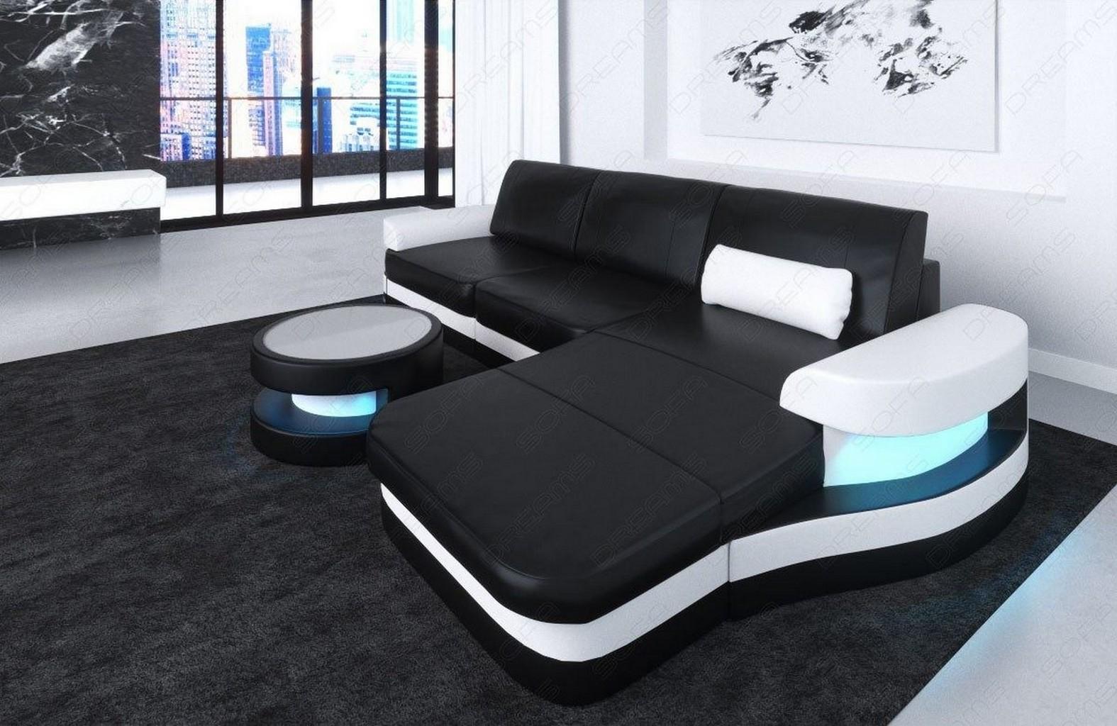 leder ecksofa ledersofa eckcouch modena l form design couch optionale leds ebay. Black Bedroom Furniture Sets. Home Design Ideas