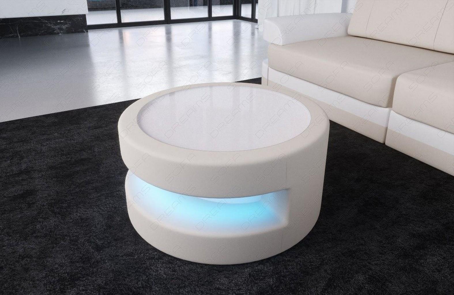 runder couchtisch beistelltisch stoff modena led beleuchtung glasplatte tisch ebay. Black Bedroom Furniture Sets. Home Design Ideas
