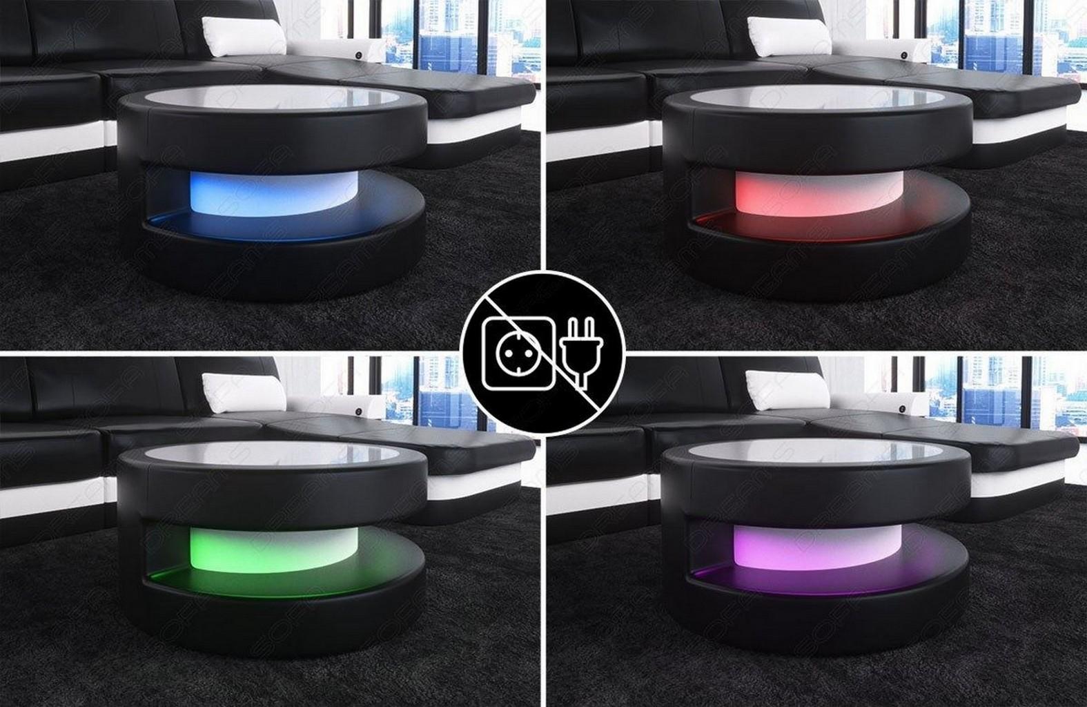 runder couchtisch beistelltisch stoff modena led. Black Bedroom Furniture Sets. Home Design Ideas