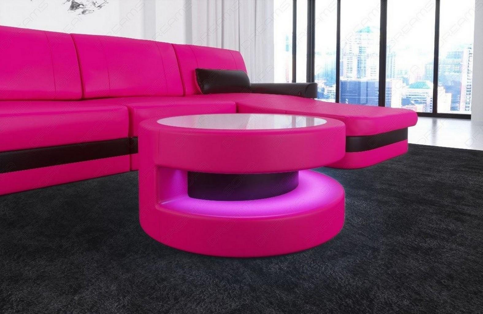 Runder couchtisch modena design wohnzimmertisch led beleuchtung leder farbwahl ebay - Couchtisch led beleuchtung ...