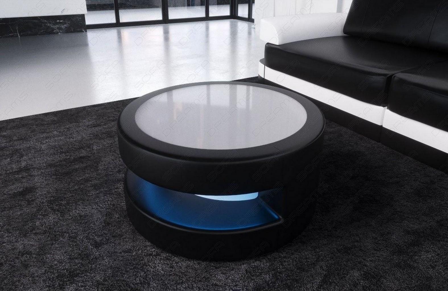 runder couchtisch modena design wohnzimmertisch led beleuchtung leder farbwahl ebay. Black Bedroom Furniture Sets. Home Design Ideas