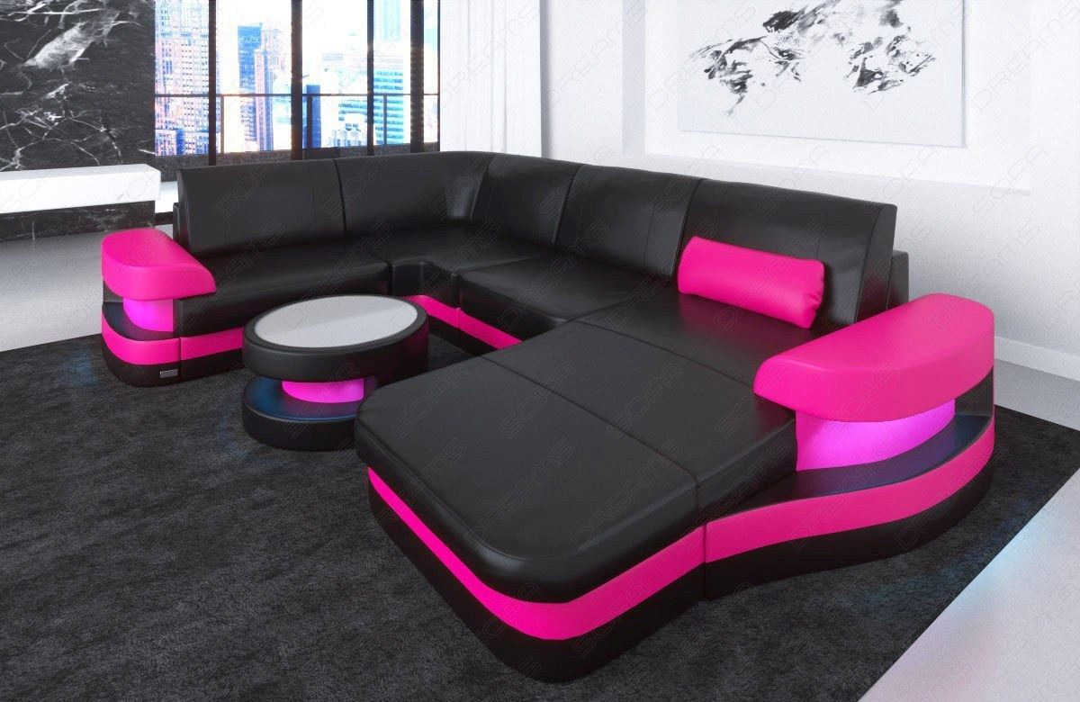 wohnlandschaft ledersofa eckcouch modena u form echtleder couch optional led ebay. Black Bedroom Furniture Sets. Home Design Ideas