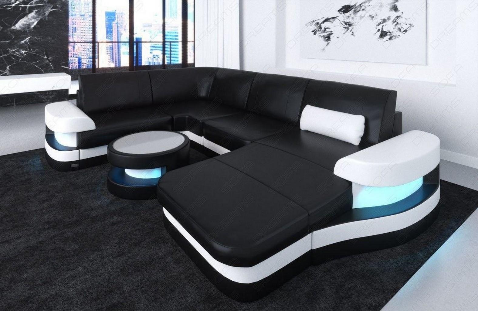 leder ecksofa ledersofa eckcouch sofa modena u form design couch led beleuchtung ebay