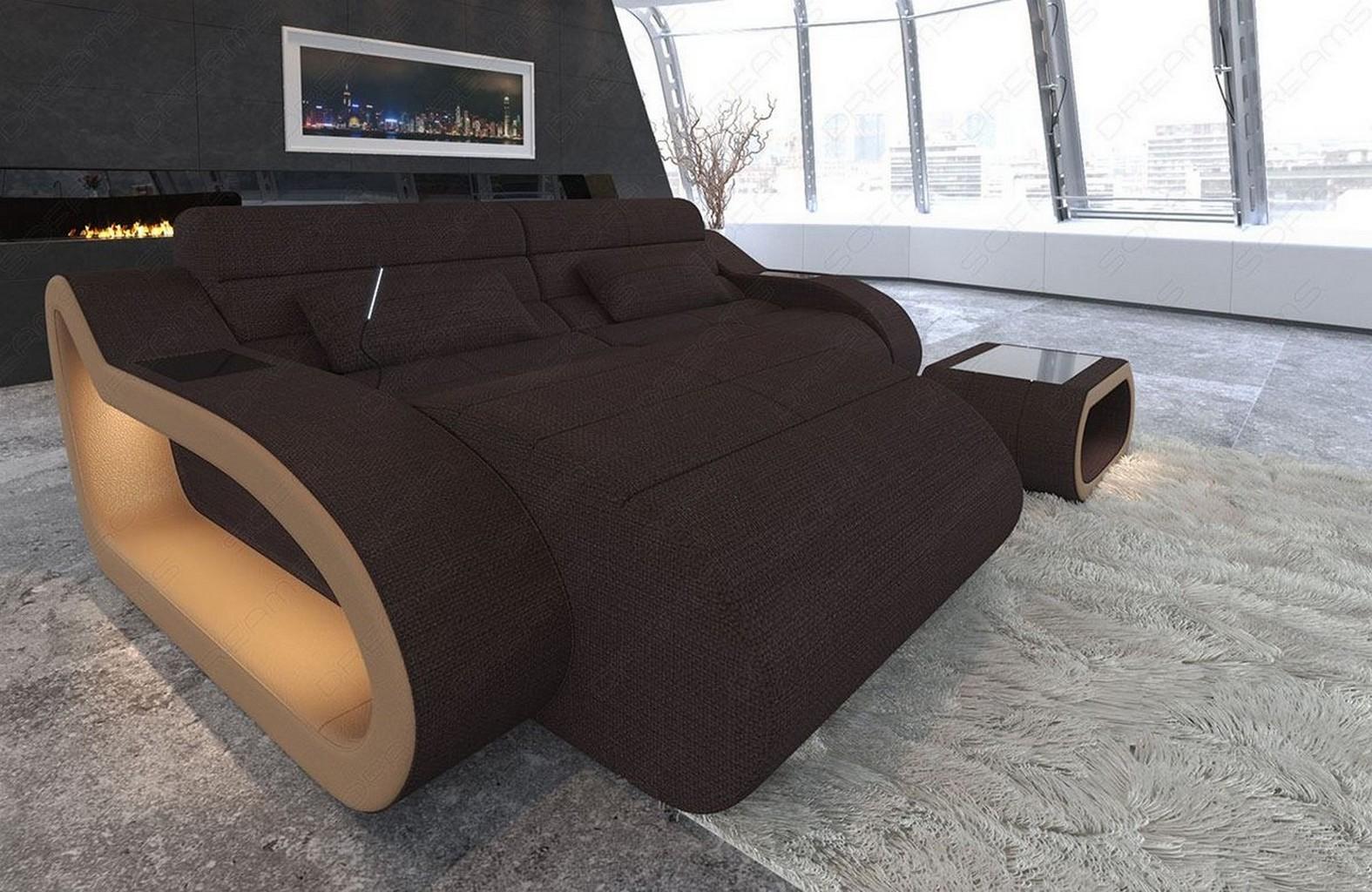 Attirant Details About Fabric Sofa Daytona L Short Shape Designer Couch With LED  Light