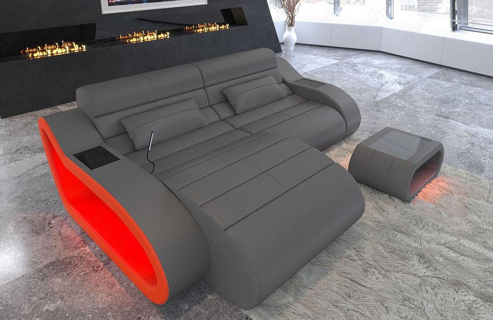 Details Zu Design Leather Sofa Daytona L Shape Short Luxury Corner Couch With Led Lights