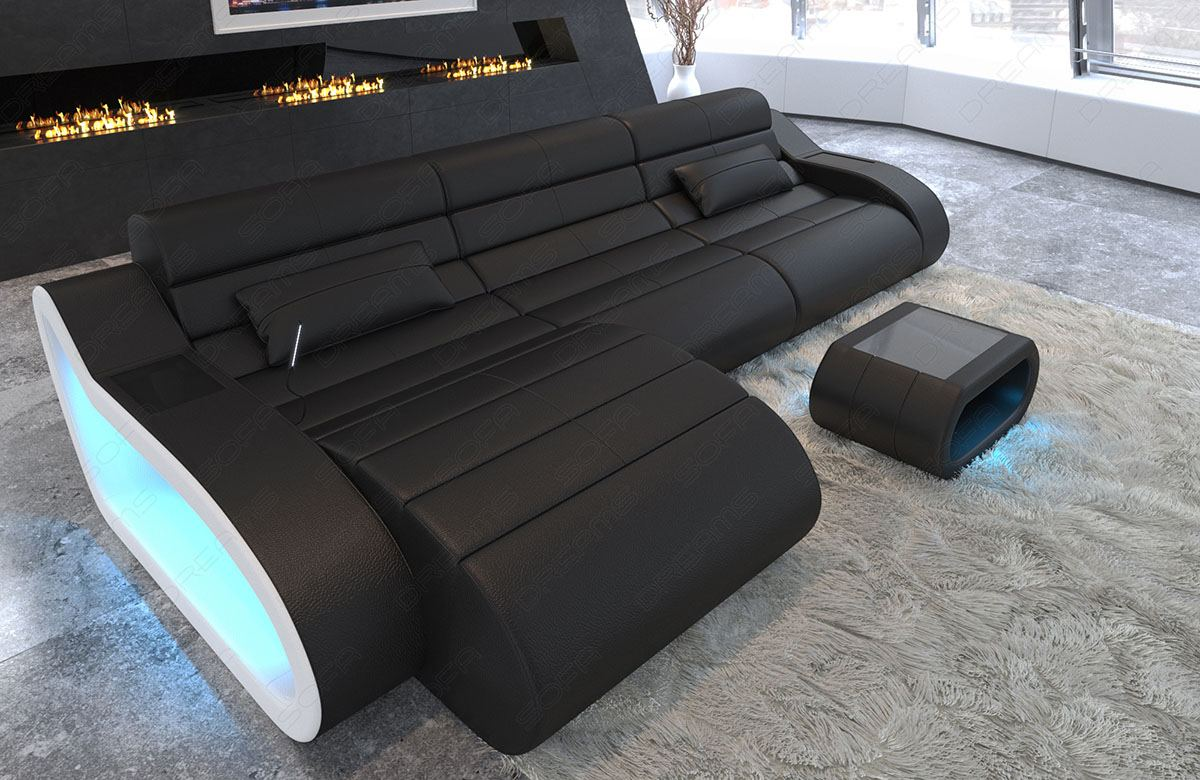Details about Design Leather Sofa Daytona L Shape long Luxury with LED  lights