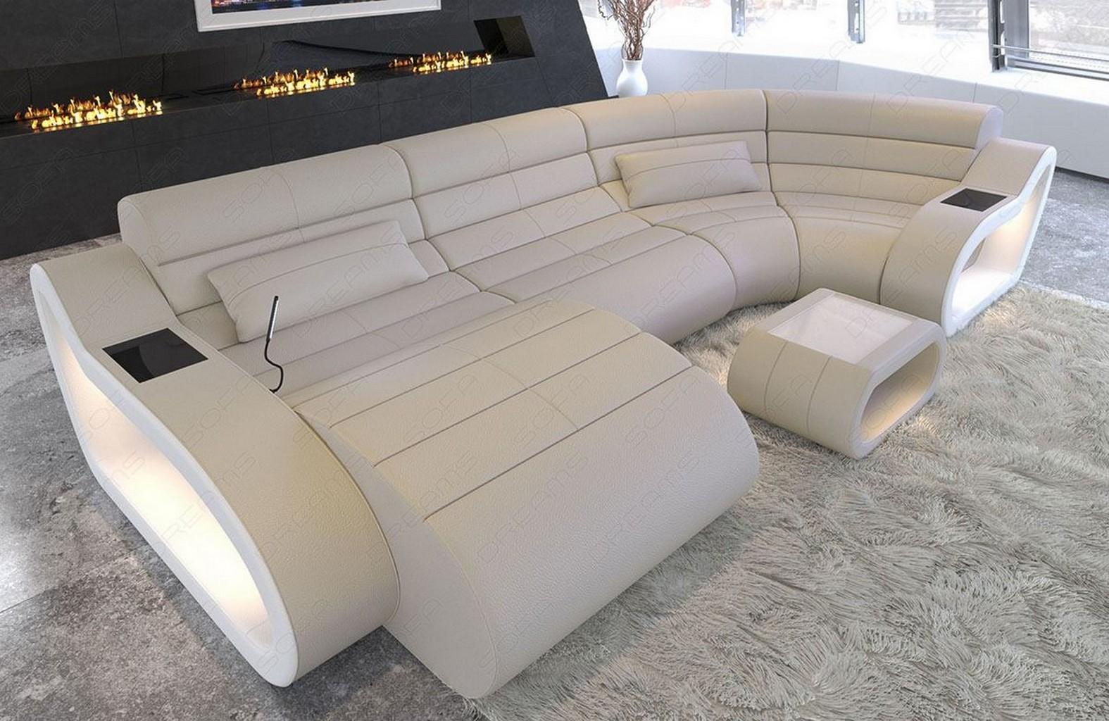 Sectional Sofa Luxury Daytona U Shape Design Couch Big Led Lights