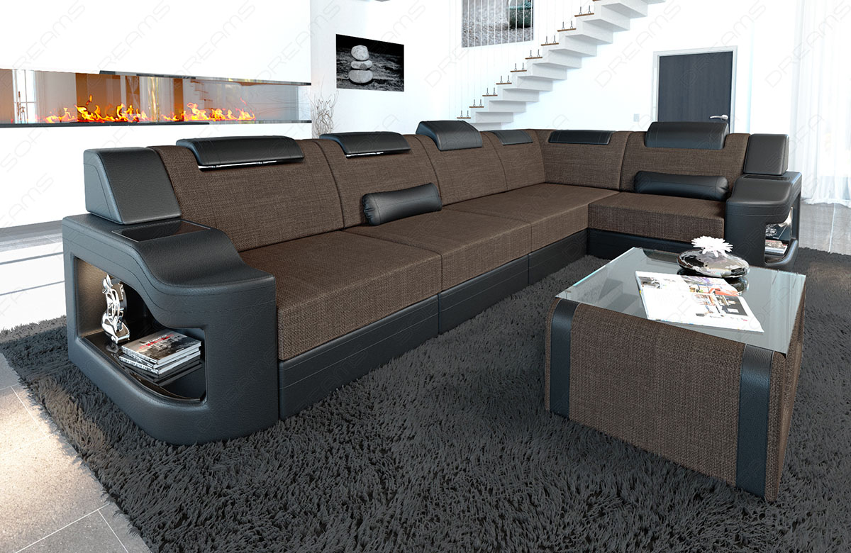 Details Zu Fabric Sectional Sofa Manhattan L Shape Designer Couch With Led Light