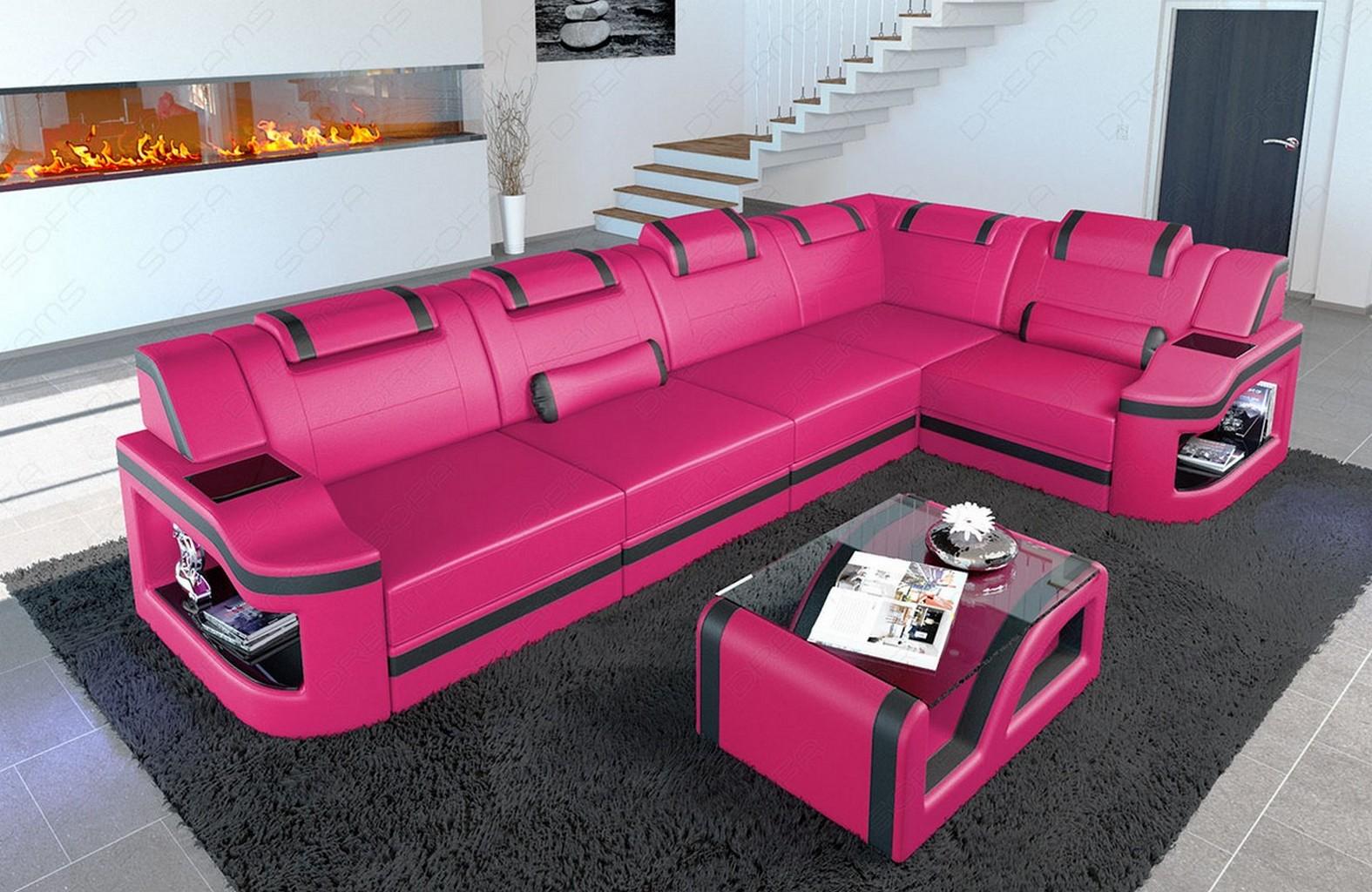 couch leder sofa ecksofa design luxus sofa padua l mit led. Black Bedroom Furniture Sets. Home Design Ideas