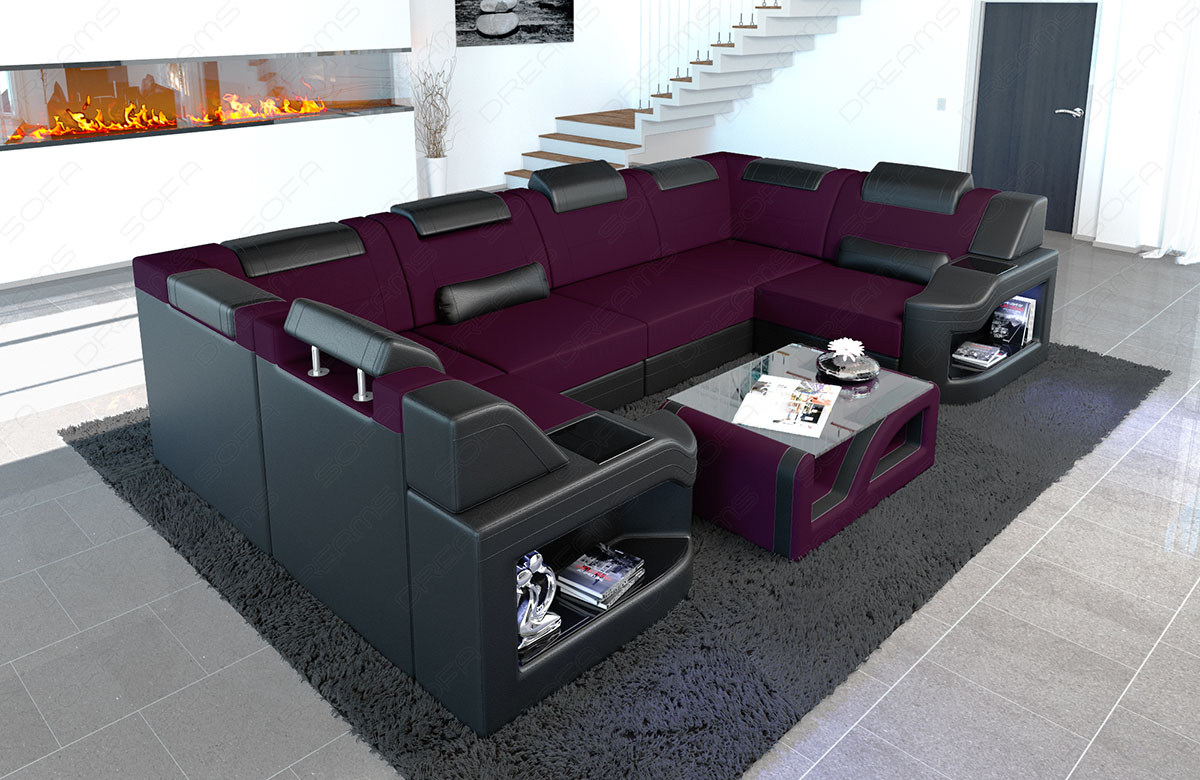 Wohnlandschaft Polstersofa Stoff Couch Padua U Form Mit Led