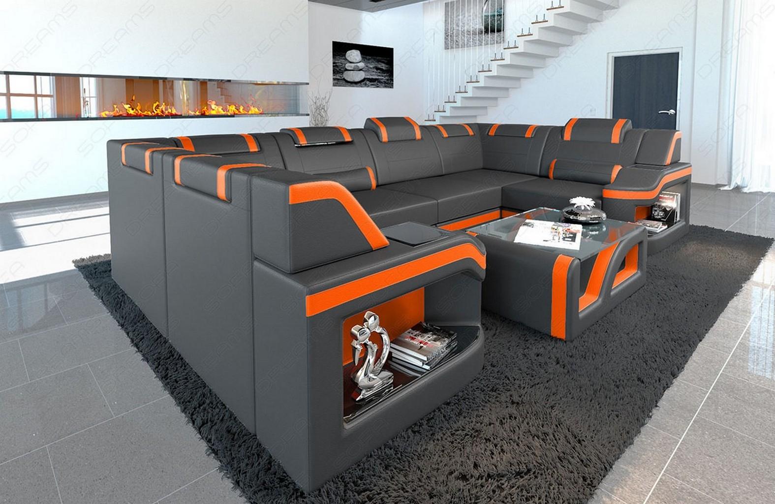 Details about Modern Living Room Leather Sectional Sofa Manhattan U Shape  Adjustable Headrest