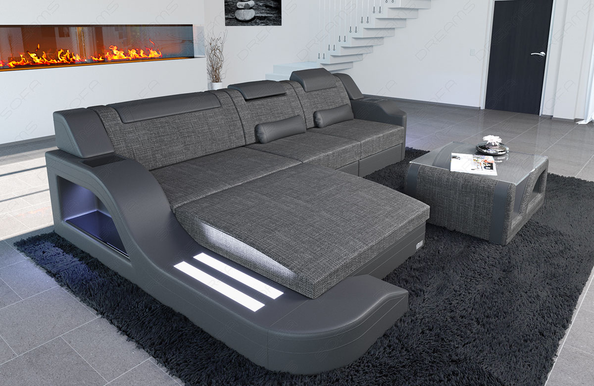 fabric sofa polstercouch materialmix palermo l shaped led. Black Bedroom Furniture Sets. Home Design Ideas
