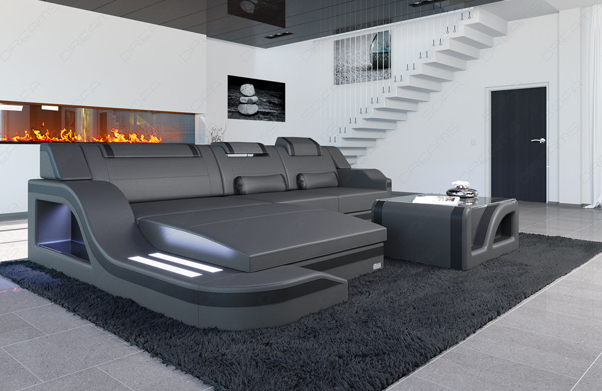 Leather Sofa Luxury Designer Couch Palermo L Shape Led Lighting Corner Real Ebay