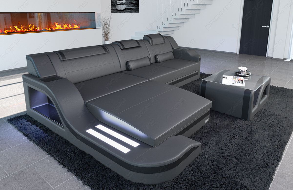 eckcouch designersofa palermo l form mit led beleuchtung luxus grau schwarz ebay. Black Bedroom Furniture Sets. Home Design Ideas