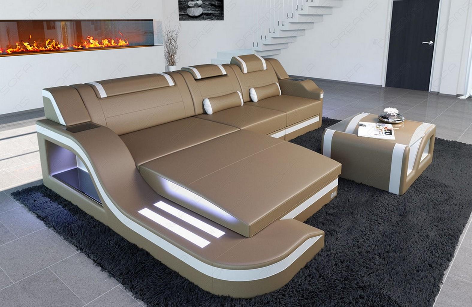 leather sofa designersofa palermo l shape with led rgb. Black Bedroom Furniture Sets. Home Design Ideas