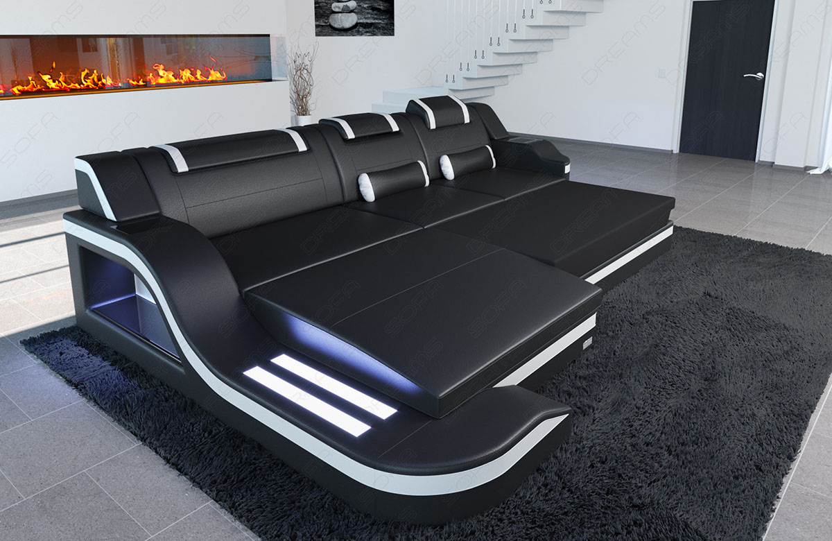 Leather sofa luxury designer couch palermo l shape led for Sofa l form mit schlaffunktion