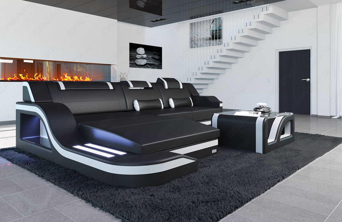 ledersofa luxus designercouch palermo l form led beleuchtung eckcouch echtleder ebay. Black Bedroom Furniture Sets. Home Design Ideas