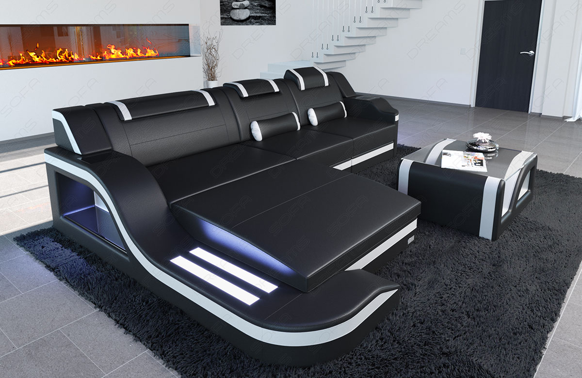 ledercouch palermo l form led designersofa eckcouch design bigsofa schwarz weiss ebay. Black Bedroom Furniture Sets. Home Design Ideas
