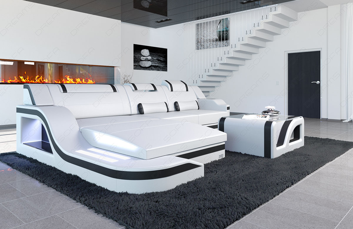 ledersofa luxus palermo l form led designersofa eckcouch bigsofa weiss schwarz ebay. Black Bedroom Furniture Sets. Home Design Ideas
