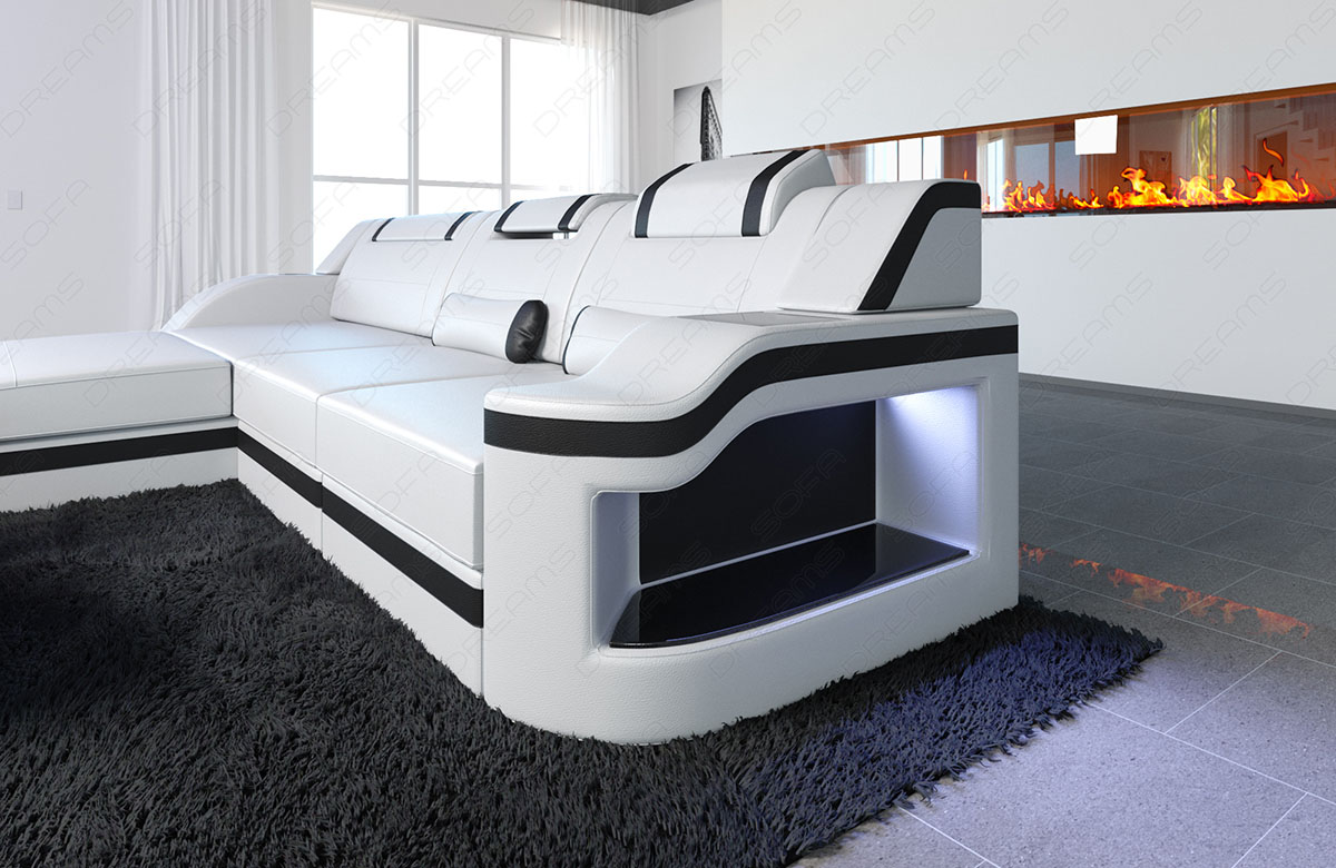 leather sofa luxury palermo l shaped led designersofa. Black Bedroom Furniture Sets. Home Design Ideas