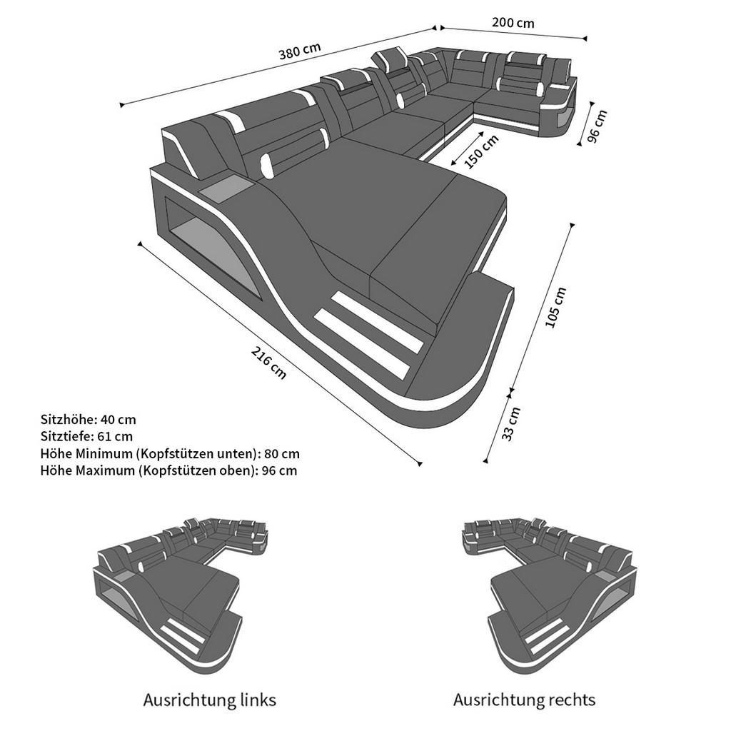 Couch u form maße  Luxus Wohnlandschaft PALERMO U-Form Couch Garnitur + LED RGB ...