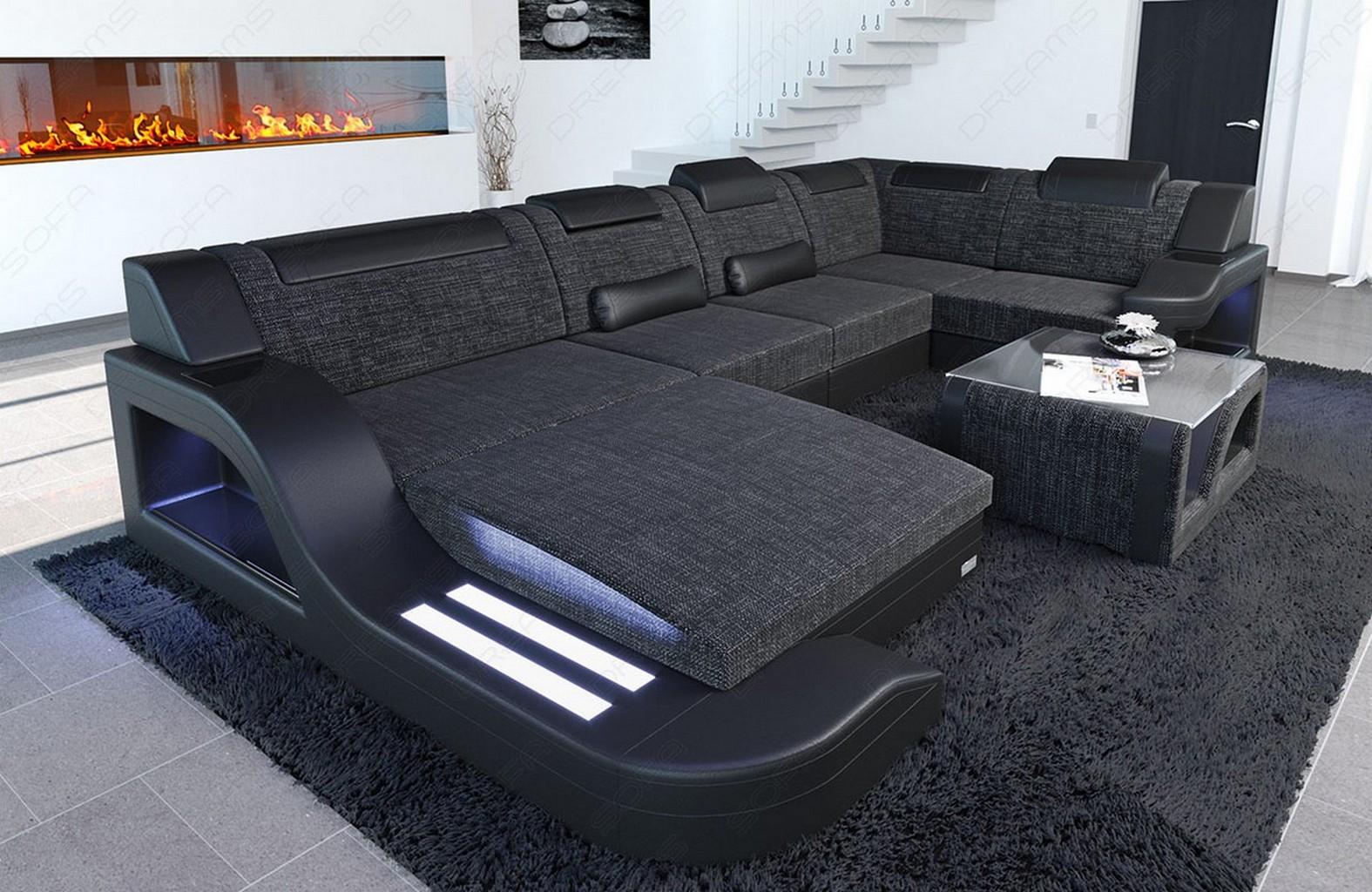 wohnlandschaft designer stoff palermo u form grau mit led. Black Bedroom Furniture Sets. Home Design Ideas