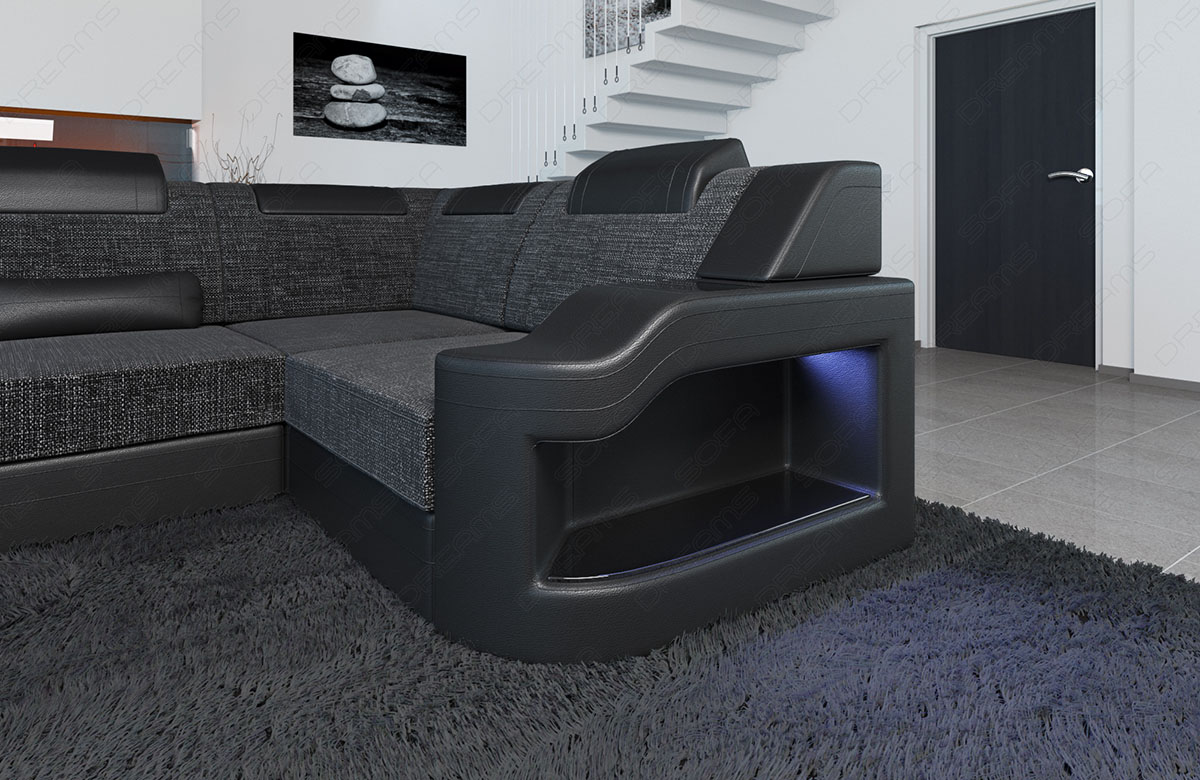 wohnlandschaft designer palermo u form luxus stoff sofa. Black Bedroom Furniture Sets. Home Design Ideas