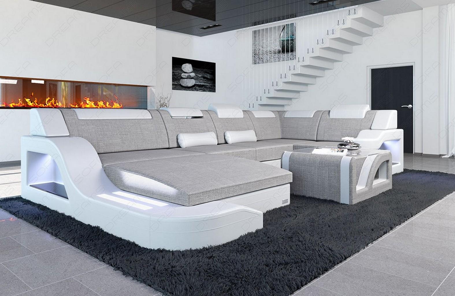 Wohnlandschaft luxus designer stoff palermo u form mit for Wohnlandschaft 7686 exklusiv