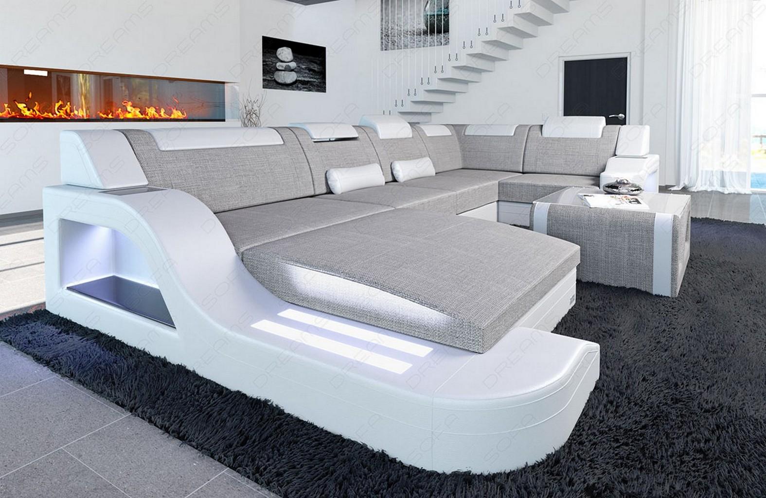 wohnlandschaft luxus designer stoff palermo u form mit ottomane led beleuchtung ebay. Black Bedroom Furniture Sets. Home Design Ideas