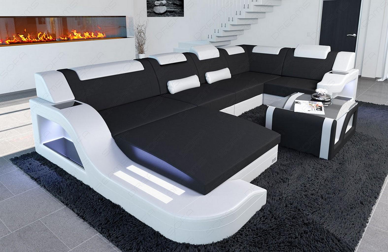 designer wohnlandschaft stoffcouch palermo u form. Black Bedroom Furniture Sets. Home Design Ideas