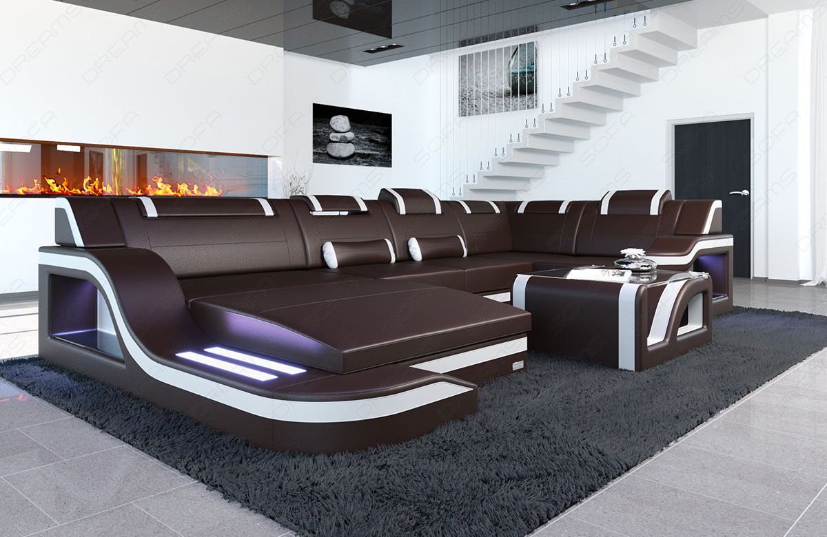 ledercouch palermo u form mit led beleuchtung dunkelbraun. Black Bedroom Furniture Sets. Home Design Ideas