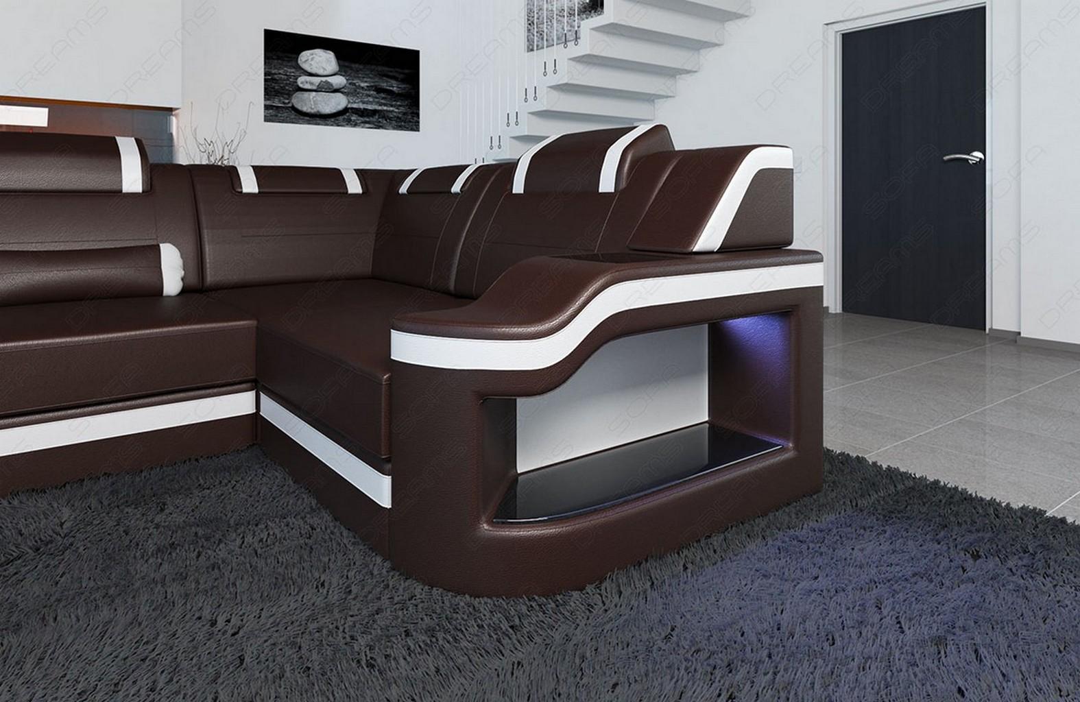 Luxus sectional sofa detroit u shaped genuine leather with for Sofa u form braun