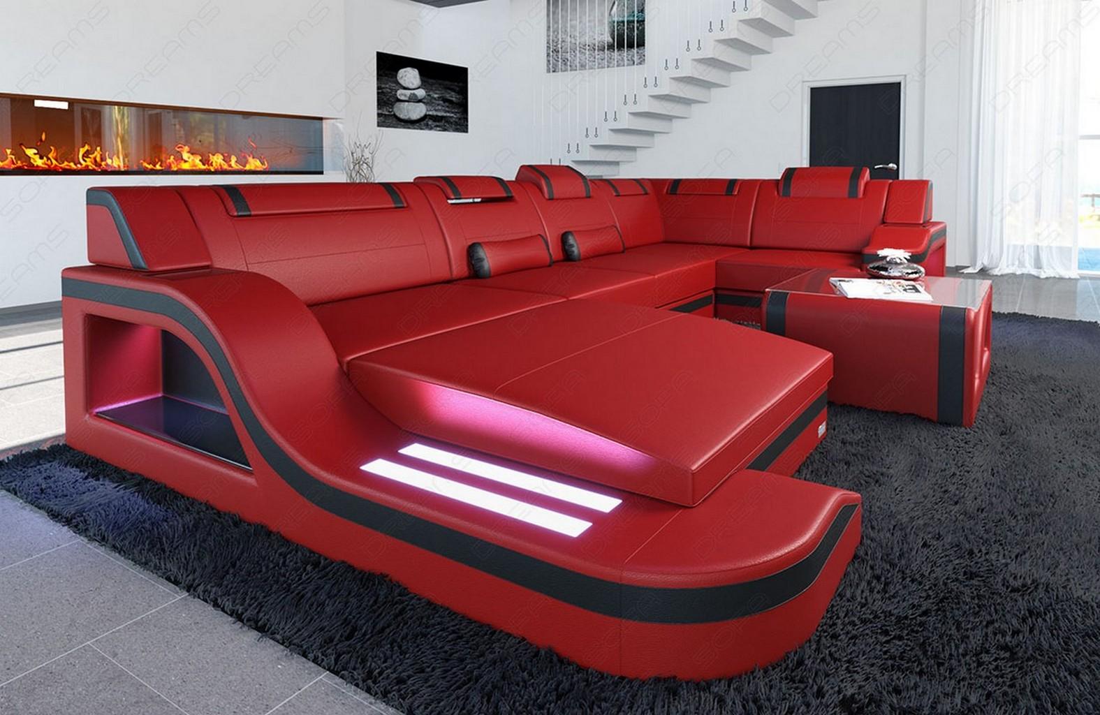 Designsofa palermo in u form mit led beleuchtung mega sofa for Wohnlandschaft rot schwarz