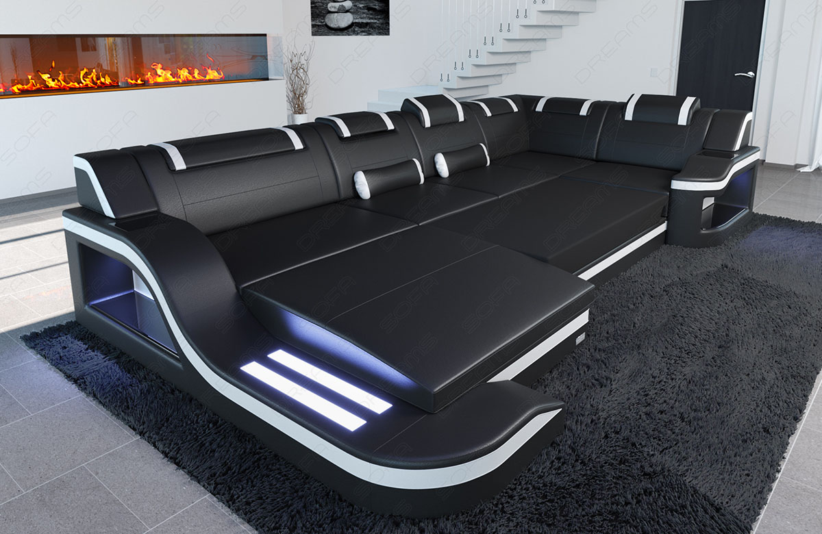 Design leather sectional sofa palermo u shaped corner sofa with led lights Sofa l form mit schlaffunktion
