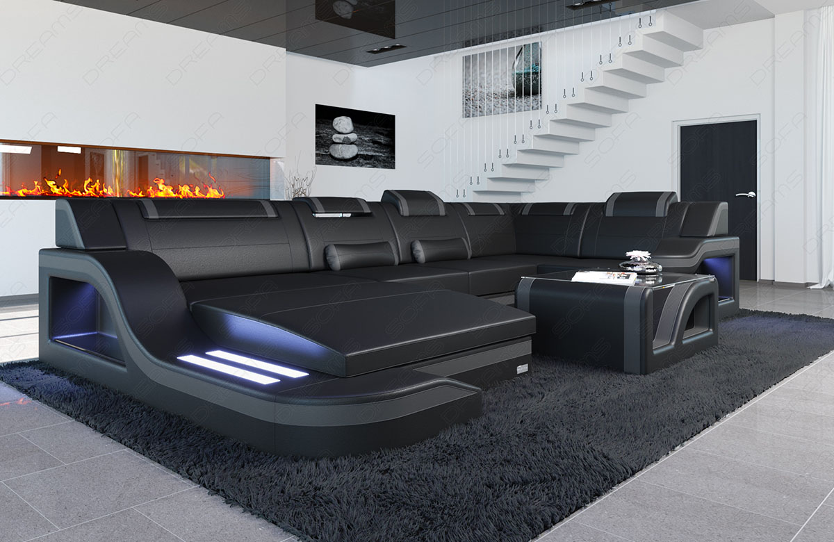 luxus sectional sofa palermo u shaped cornersofa genuine leather with led lights ebay. Black Bedroom Furniture Sets. Home Design Ideas