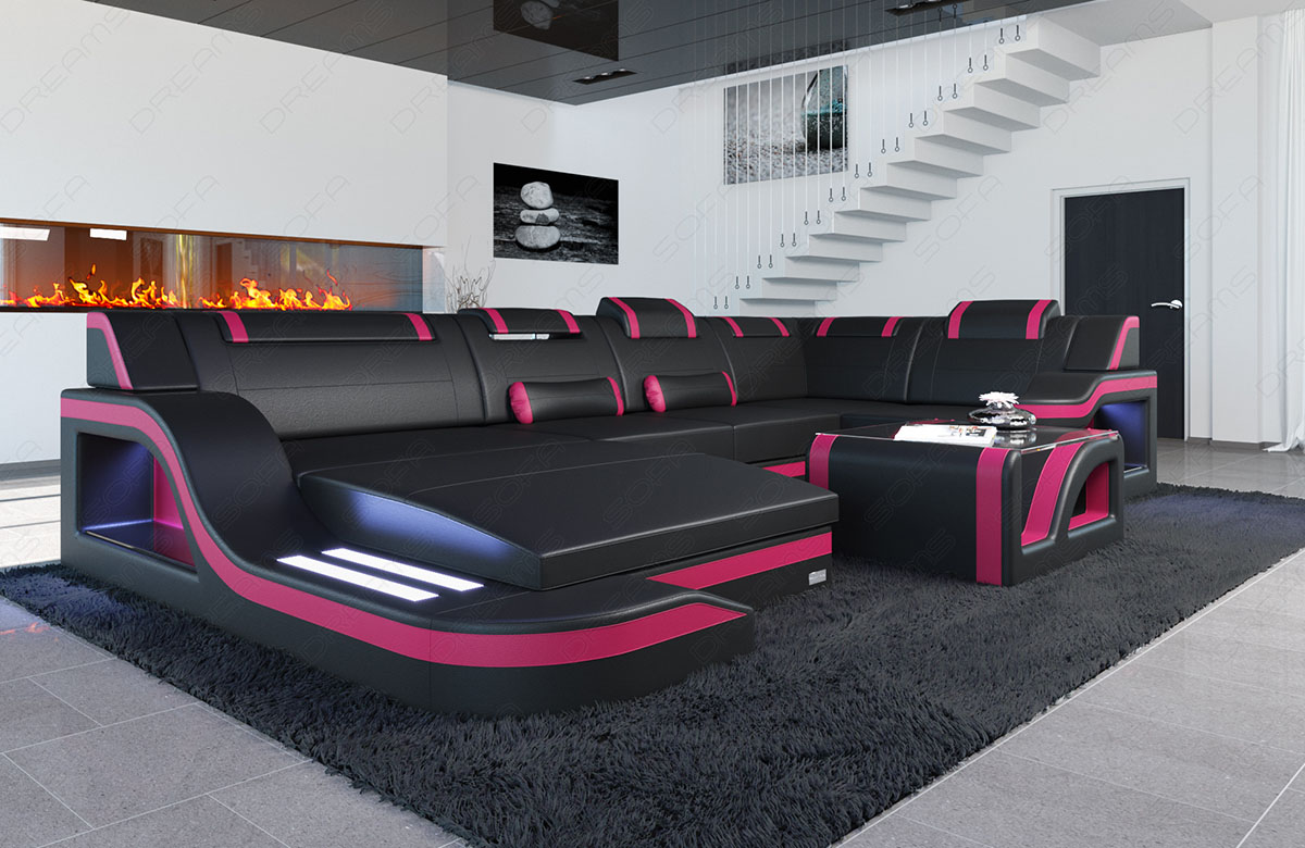 leather sofa with led lighting designer sofa palermo u shape black pink. Black Bedroom Furniture Sets. Home Design Ideas