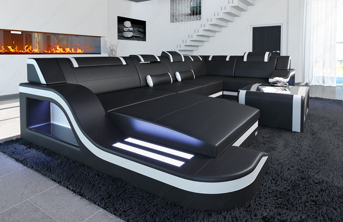 designsofa palermo u form luxus couch garnitur led rgb. Black Bedroom Furniture Sets. Home Design Ideas