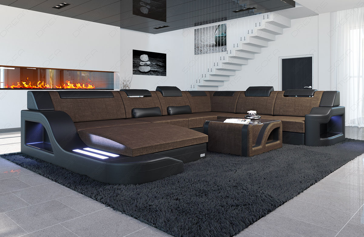wohnlandschaft palermo xxl form braun mit led beleuchtung im materialmix ebay. Black Bedroom Furniture Sets. Home Design Ideas