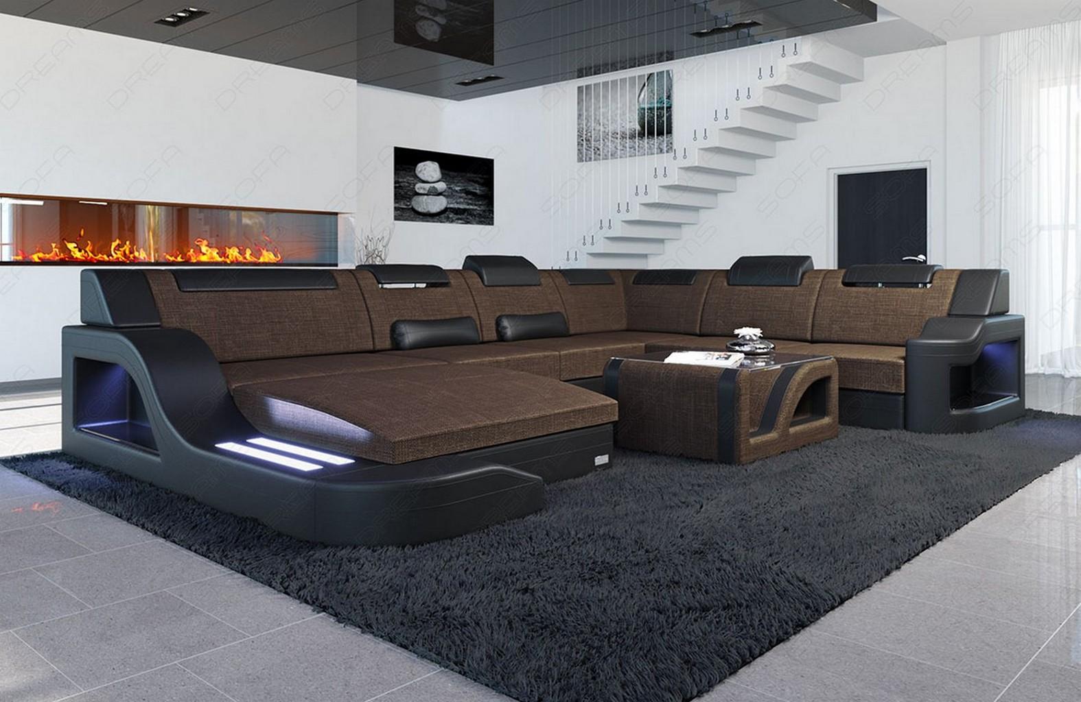 Wohnlandschaft palermo xxl form braun mit led for Couch u form 3m