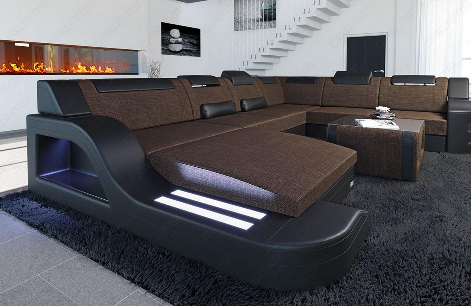 Interior design palermo xxl new look fabric mix with led for Designer wohnlandschaft xxl