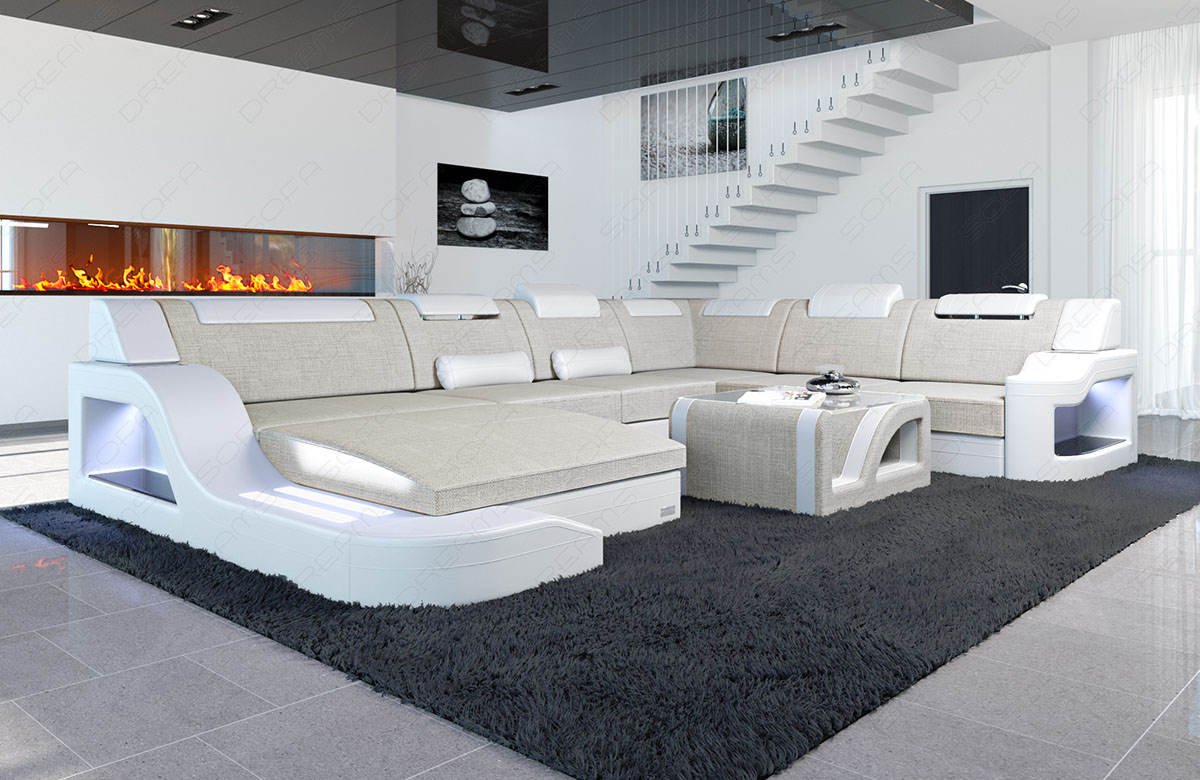 interior design palermo xxl new look fabric mix with led. Black Bedroom Furniture Sets. Home Design Ideas