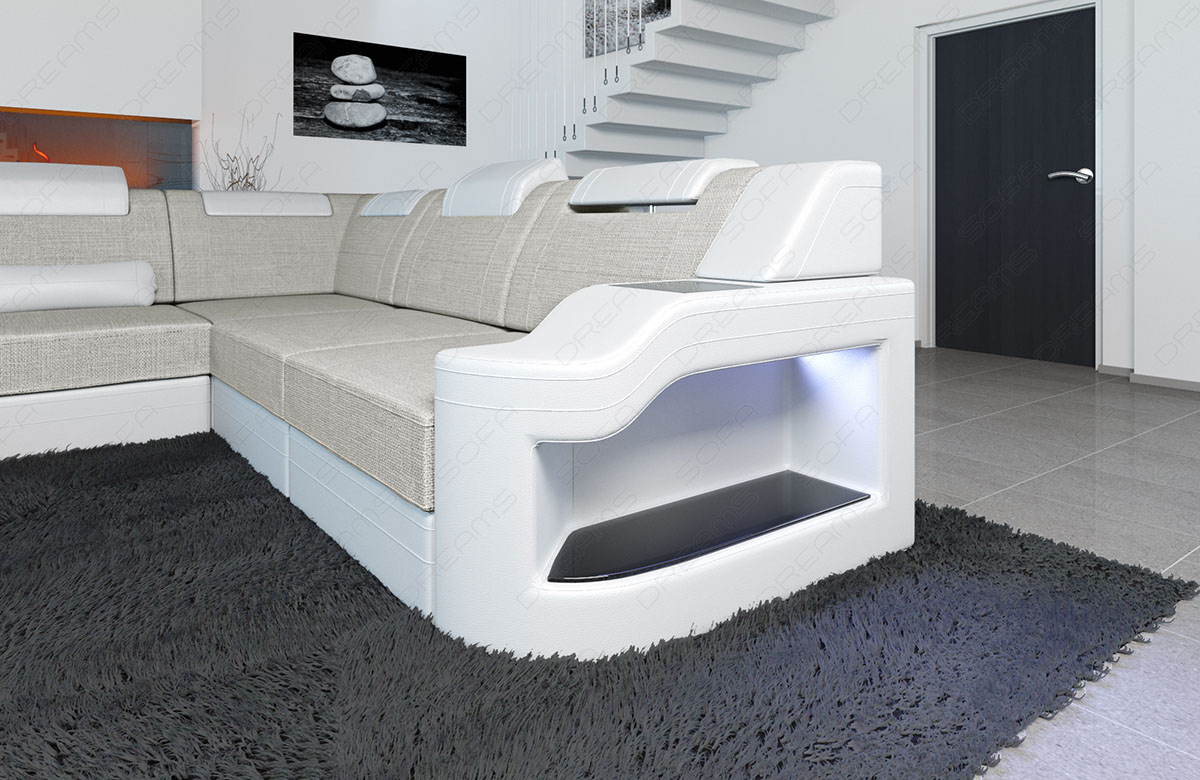 polstersofa stoff wohnlandschaft palermo xxl form led beleuchtung materialmix ebay. Black Bedroom Furniture Sets. Home Design Ideas